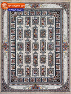 فرش ماشینی 1000 شانه گل برجسته طرح خشتی