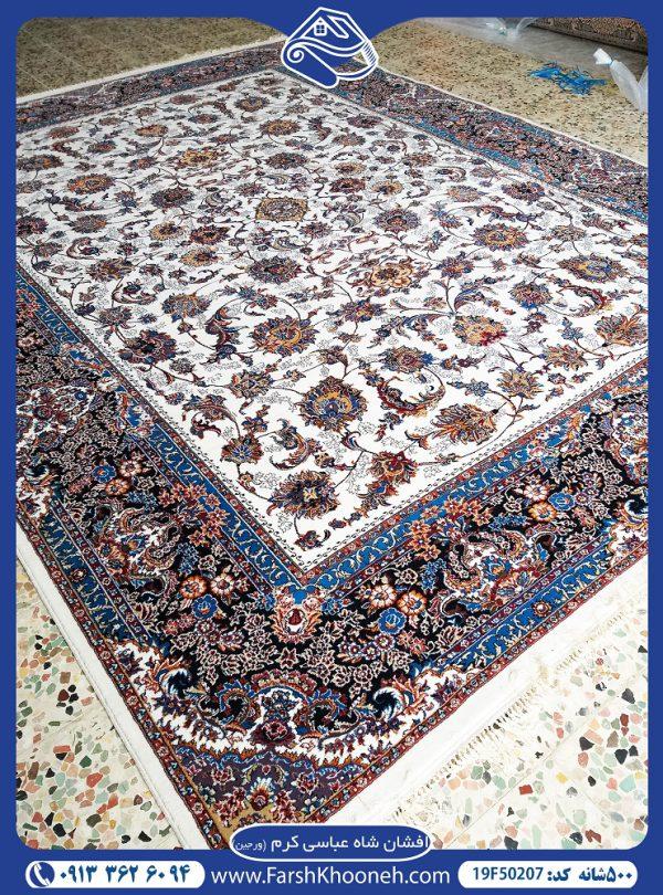فرش ماشینی 500 شانه طرح افشان شاه عباسی