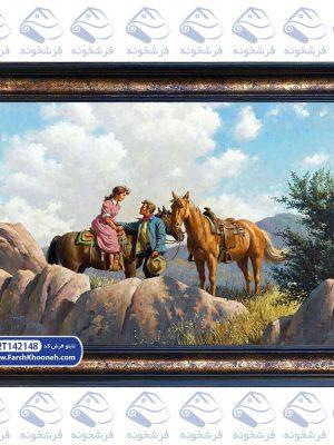 تابلو فرش طرح اسب سوار عاشق