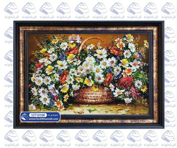 تابلو فرش گلدان طرح گل شقایق