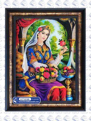 تابلو فرش طرح دختر قاجار