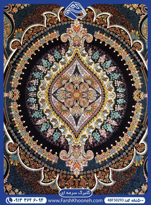 فرش ماشینی 500 شانه طرح گلبرگ
