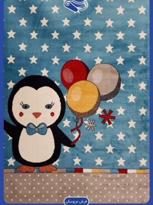 فرش عروسکی طرح پینگو پنگوئن آبی
