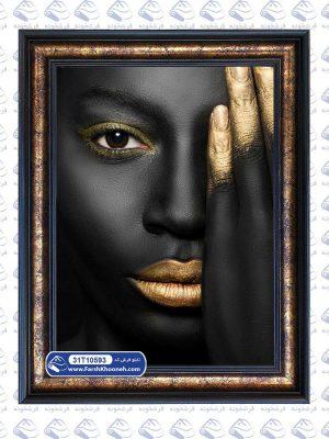 تابلو فرش پرتره سیاه و طلایی طرح دختر سیاه پوست