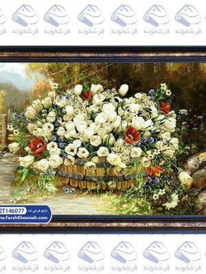 تابلو فرش گل و گلدان طرح نقاشی دسته گل