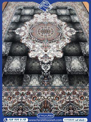 فرش ماشینی 500 شانه طرح نیلوفر سرمه ای