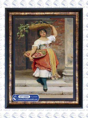 تابلو فرش نقاشی طرح دختر میوه فروش