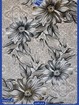 فرش طوسی جدید طرح گل مینا