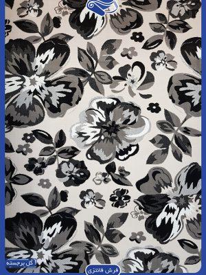فرش سیاه و سفید با گل های درشت