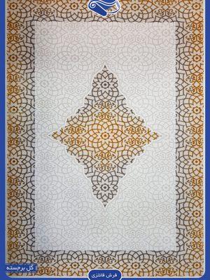فرش فانتزی سفید طلایی