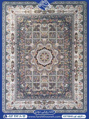 فرش رنگ دودی با طرحی ظریف و جذاب