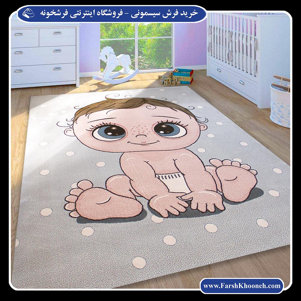 خرید فرش سیسمونی اتاق نوزاد طرح پسر بچه