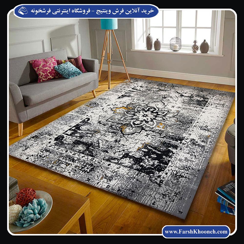 فرش وینتیج یا فرش پتینه طوسی در دکوراسیونی شیک و زیبا