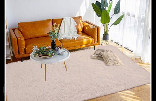 خرید فرش پرز بلند ارزان تک رنگ کرم
